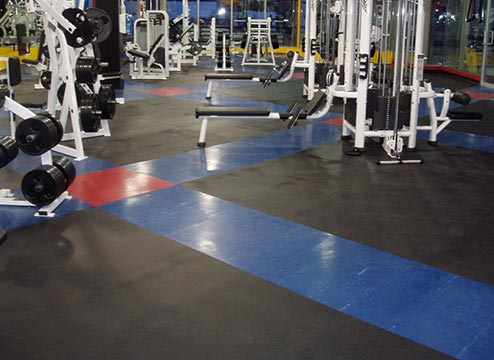 weight room on rubber gym mats