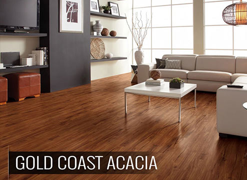 Wood-look luxury vinyl flooring in living room