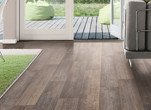 Wood-look vinyl sheet flooring in living area