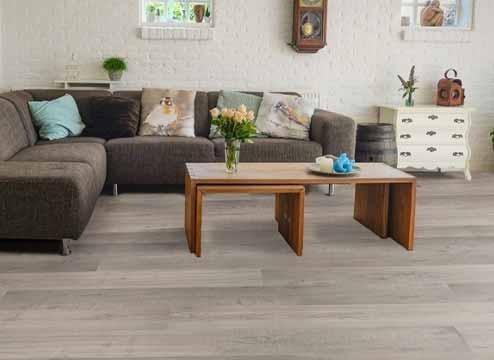 TritonCORE wood-look waterproof vinyl flooring in modern, white kitchen