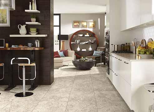 Stone-look waterproof vinyl floor tiles in bathroom