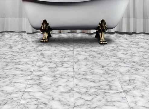 Gray marble-look luxury vinyl floor tiles in bedroom