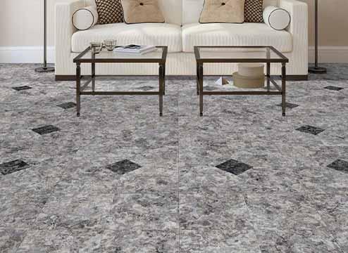 White luxury vinyl floor tiles in commercial setting