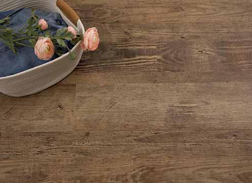 Gray rigid core luxury vinyl flooring in kitchen