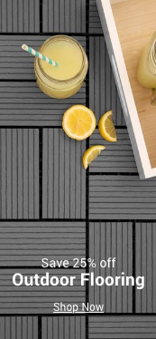 save 25% off outdoor flooring