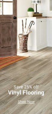save 25% off vinyl flooring