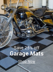 save 25% off garage mats