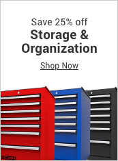 save 25% off storage & organization