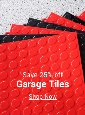 save 25% off garage tiles