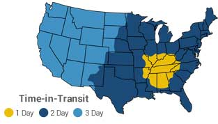 map of shipping transit times