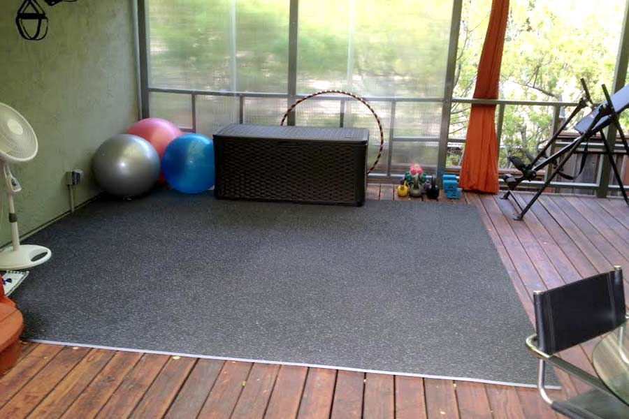 Customer review image of  in Covered deck as a gym area.