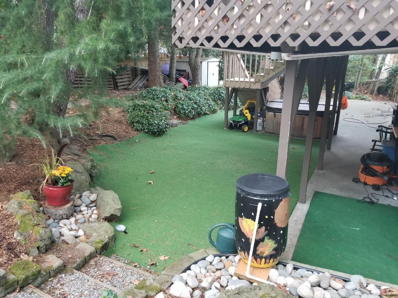 Customer review image of  in back yard under my deck and pine trees