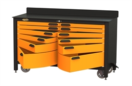 Swivel Storage 12-Drawer Rolling Workbench