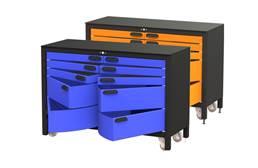 Swivel Storage 10-Drawer Rolling Workbench