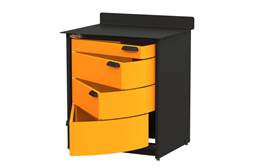 Swivel Storage 4-Drawer Stationary Cabinet