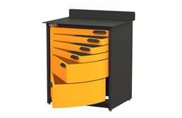 Swivel Storage 6-Drawer Stationary Cabinet
