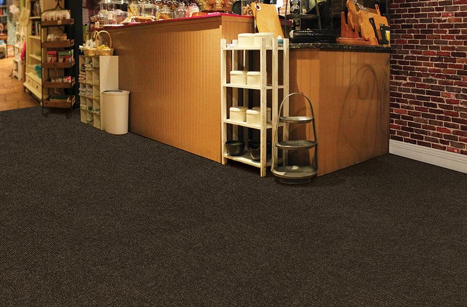 Premium Ribbed Carpet Tiles - Mocha