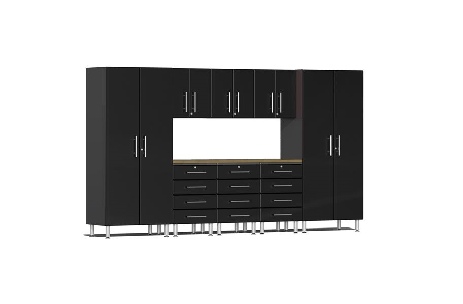 Ulti-MATE Garage 2.0 9-PC Kit w/ Bamboo Worktop - Midnight Black Metallic
