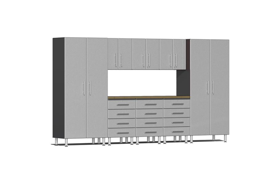 Ulti-MATE Garage 2.0 9-PC Kit w/ Bamboo Worktop - Stardust Silver Metallic