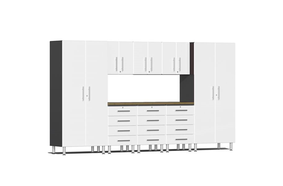 Ulti-MATE Garage 2.0 9-PC Kit w/ Bamboo Worktop - Starfire White Metallic