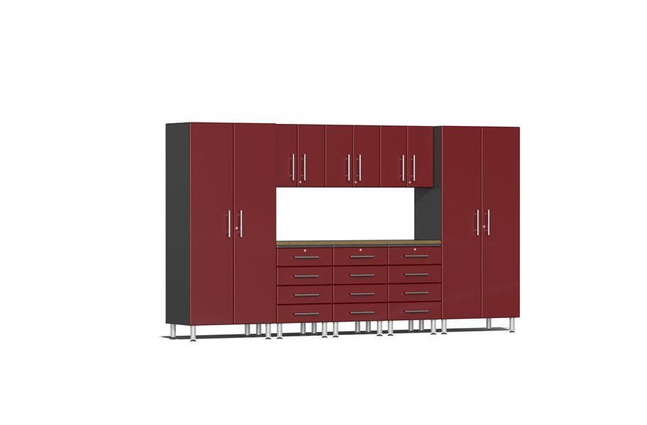Ulti-MATE Garage 2.0 9-PC Kit w/ Bamboo Worktop - Ruby Red Metallic