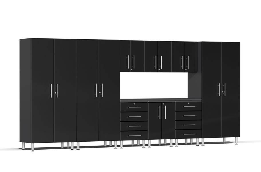 Ulti-MATE Garage 2.0 10-PC Kit w/ Recessed Worktop - Midnight Black Metallic