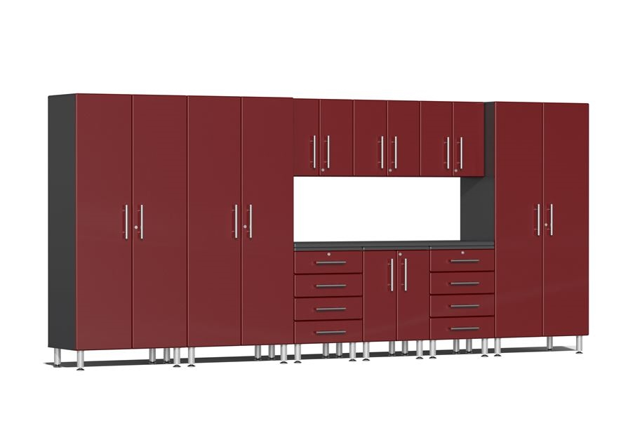 Ulti-MATE Garage 2.0 10-PC Kit w/ Recessed Worktop - Ruby Red Metallic