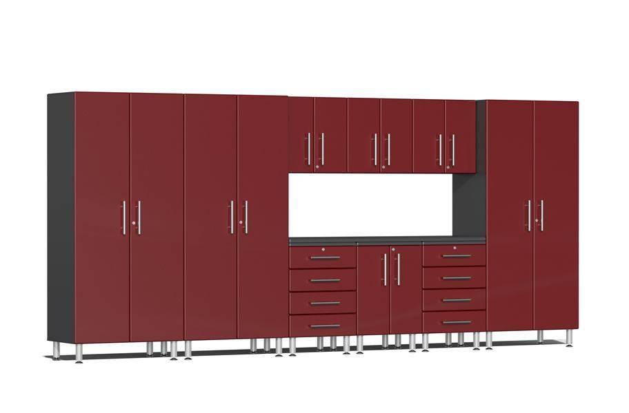 Ulti-MATE Garage 2.0 10-PC Kit w/ Recessed Worktop - Ruby Red Metallic