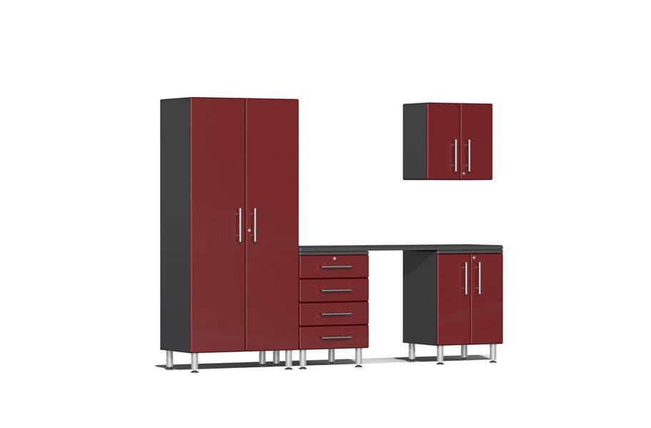 Ulti-MATE Garage 2.0 5-PC Kit w/ Workstation - Ruby Red Metallic