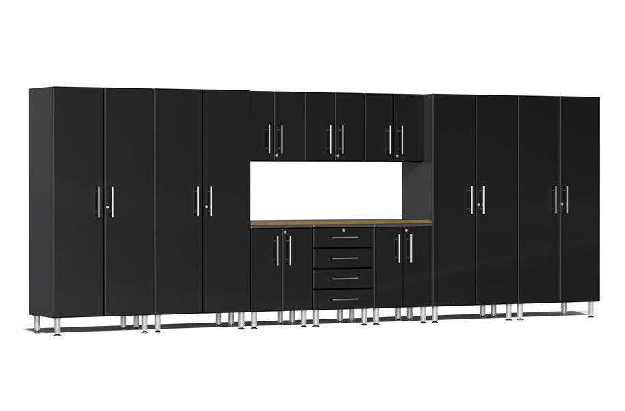 Ulti-MATE Garage 2.0 11-PC Kit w/ Bamboo Worktop - Midnight Black Metallic