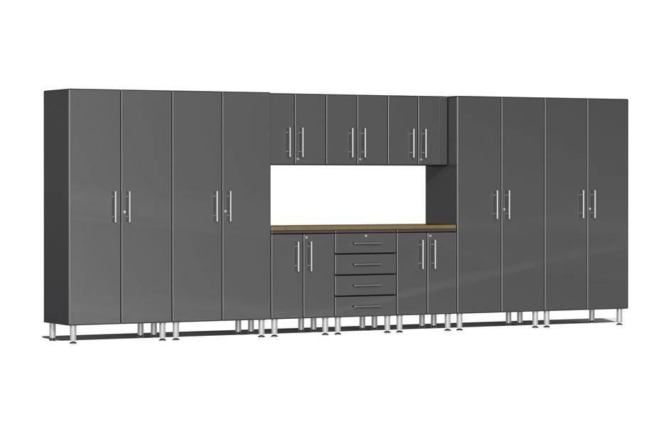 Ulti-MATE Garage 2.0 11-PC Kit w/ Bamboo Worktop - Graphite Grey Metallic