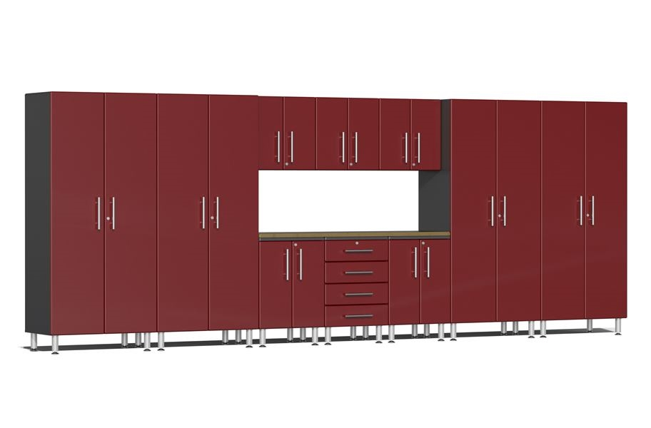 Ulti-MATE Garage 2.0 11-PC Kit w/ Bamboo Worktop - Ruby Red Metallic