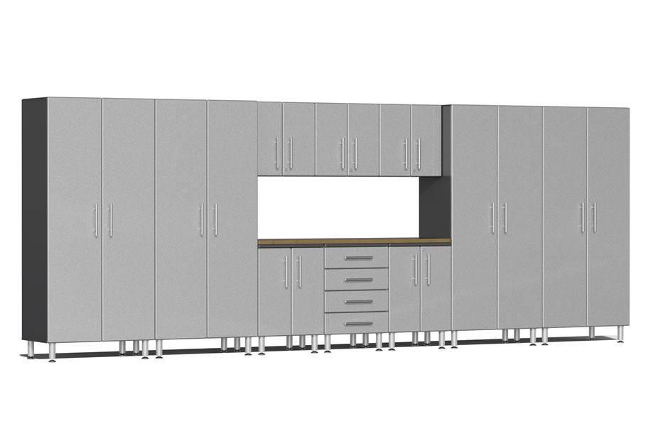 Ulti-MATE Garage 2.0 11-PC Kit w/ Bamboo Worktop - Stardust Silver Metallic