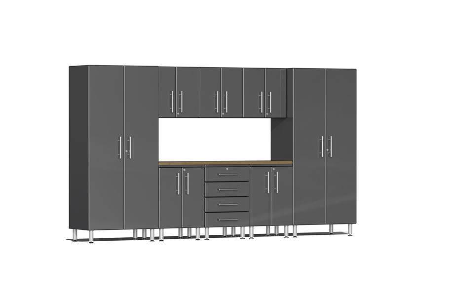 Ulti-MATE Garage 2.0 9-PC Bamboo Worktop Kit - Graphite Grey Metallic