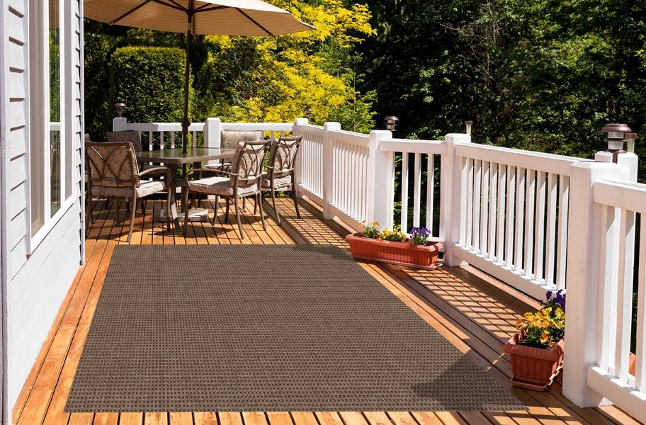Pindot Taupe Outdoor Patio Rugs