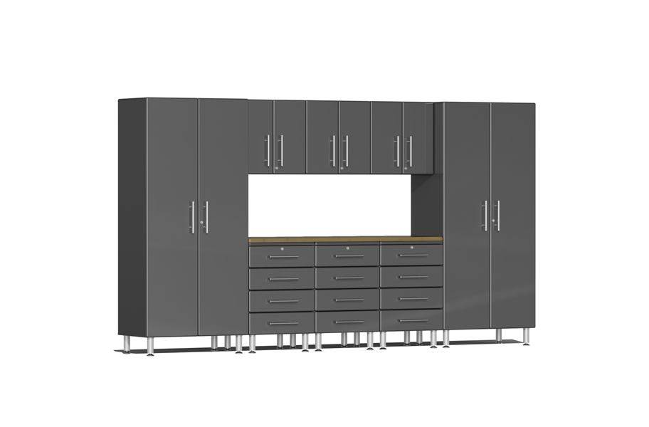 Ulti-MATE Garage 2.0 9-PC Kit w/ Bamboo Worktop - Graphite Grey Metallic