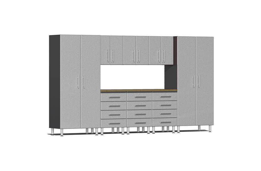 Ulti-MATE Garage 2.0 9-PC Kit w/ Bamboo Worktop - Stardust Silver Metaliic