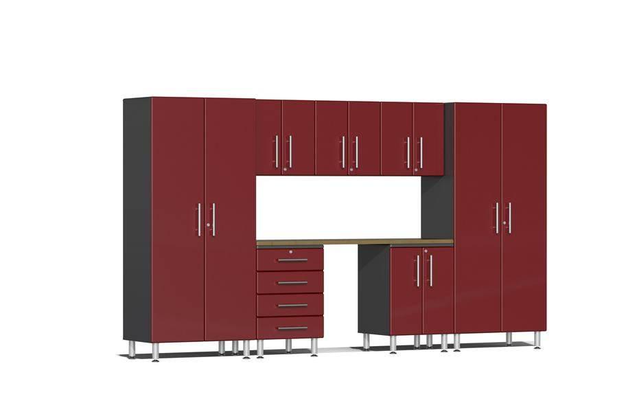 Ulti-MATE Garage 2.0 8-PC Kit w/ Bamboo Worktop - Ruby Red Metallic