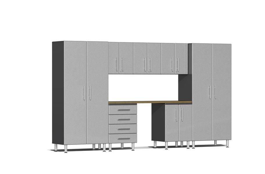 Ulti-MATE Garage 2.0 8-PC Kit w/ Bamboo Worktop - Stardust Grey Metallic