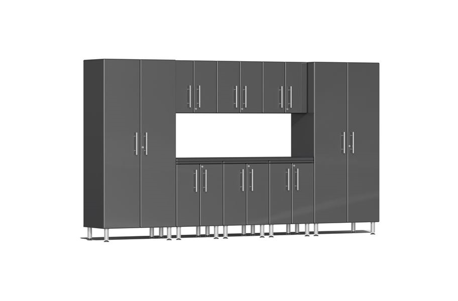 Ulti-MATE Garage 2.0 9-PC Kit w/ Recessed Worktop - Graphite Grey Metallic