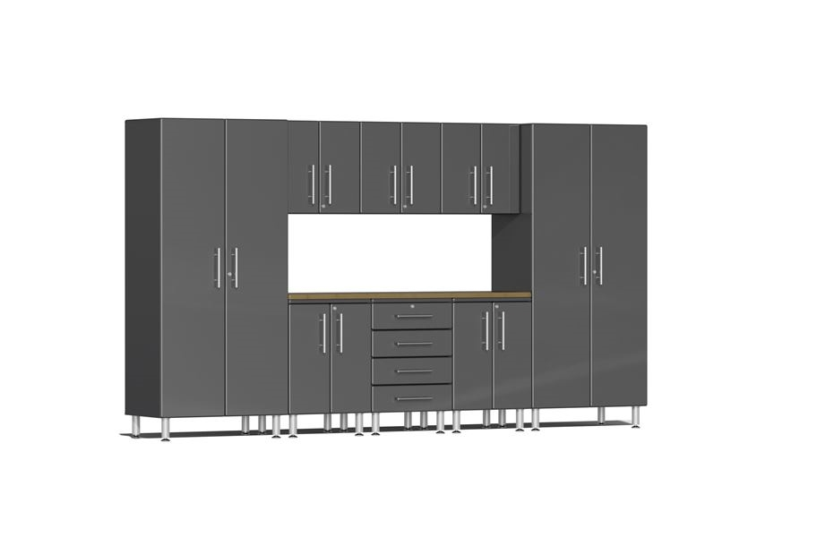 Ulti-MATE Garage 2.0 9-PC Bamboo Worktop Kit - Graphite Grey Metallic