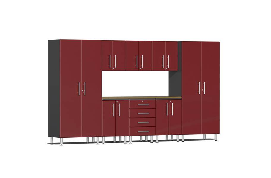 Ulti-MATE Garage 2.0 9-PC Bamboo Worktop Kit - Ruby Red Metallic