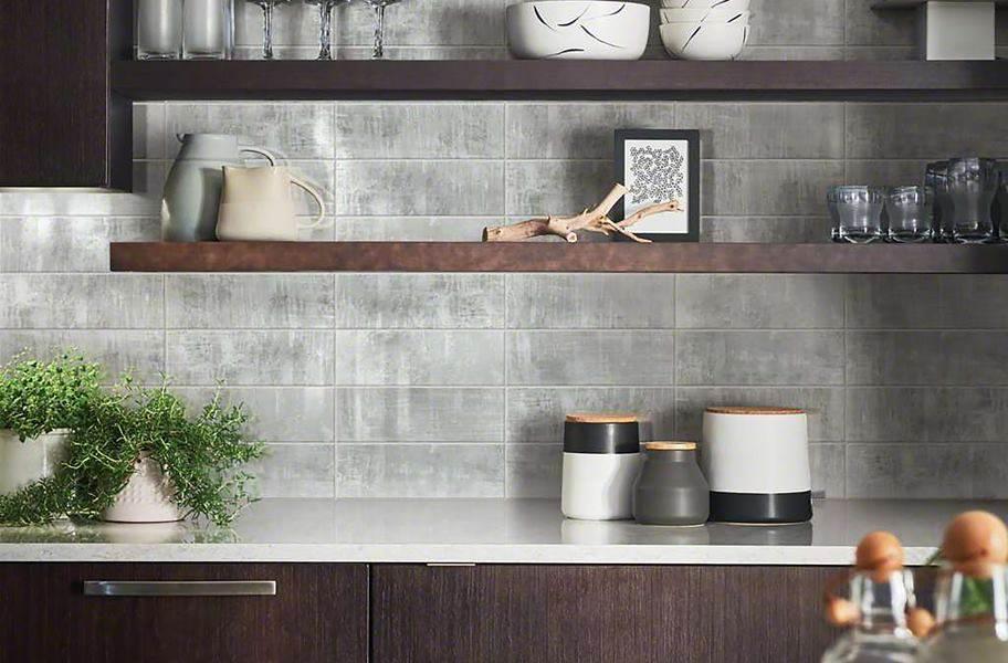 "Shaw Cosmopolitan 4"" x 12"" Wall Tile - Silver Frost"