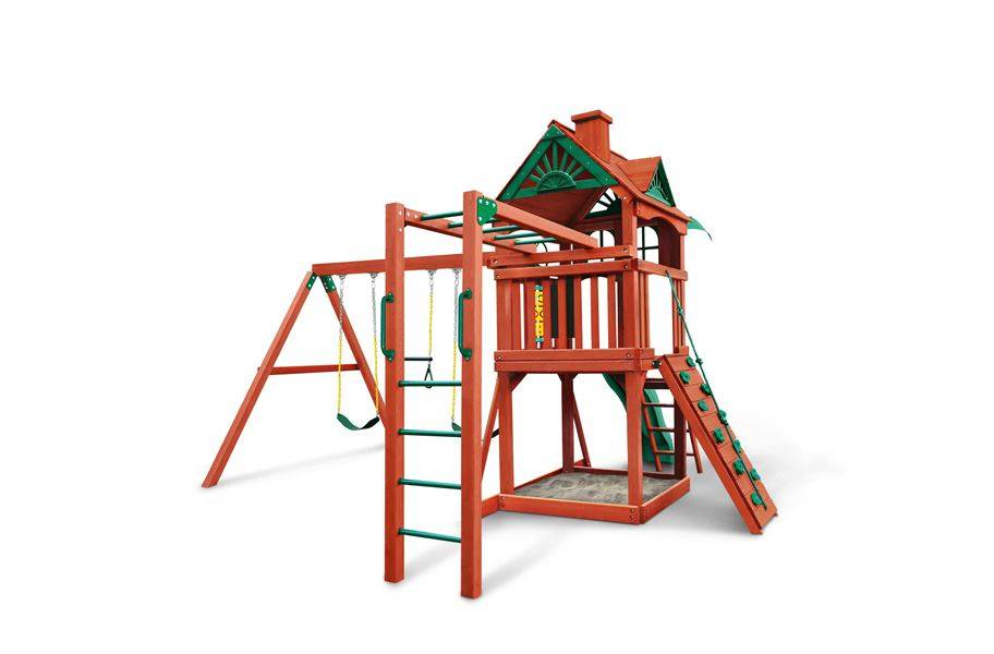 Five Star II Wooden Swing Set - Five Star II Wooden Swing Set with Monkey Bars