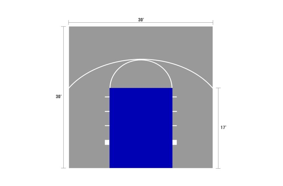 Outdoor Basketball Court Kits - 30'x30' court with game lines