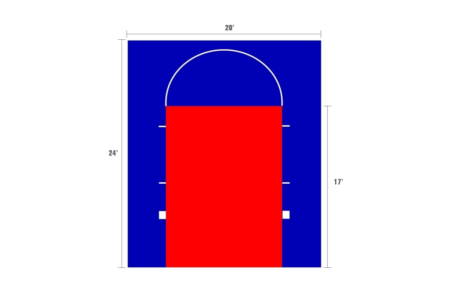 Outdoor Basketball Court Kits - 20'x24' court with game lines
