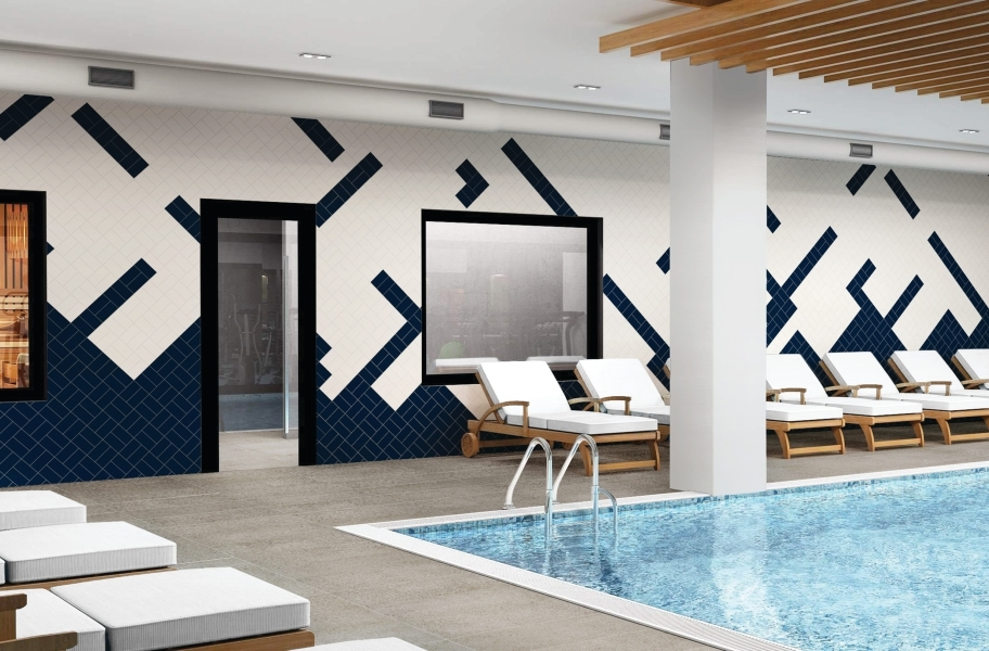 Daltile Color Wheel Wall Tile - Arctic White, Navy