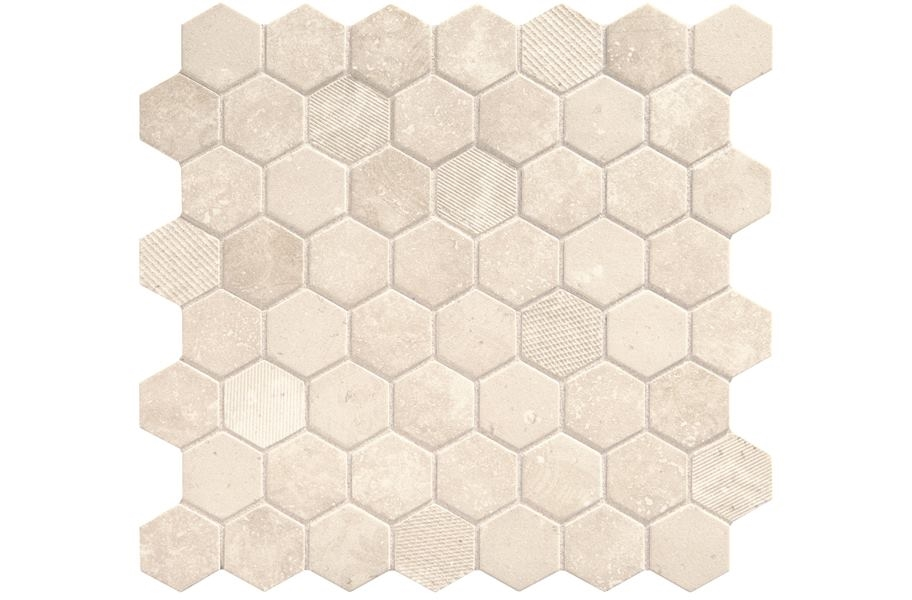 Daltile Vintage Hex Glass Mosaic - Antique Beige