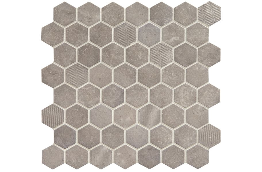 Daltile Vintage Hex Glass Mosaic - Artifact Gray