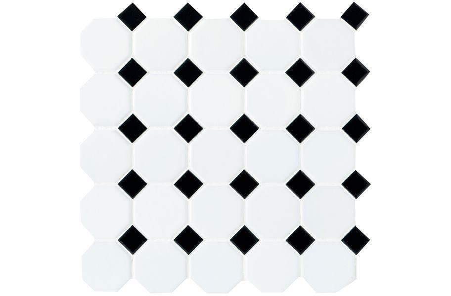 Daltile Octagon Dot - White Octagon/ Black Gloss Dot